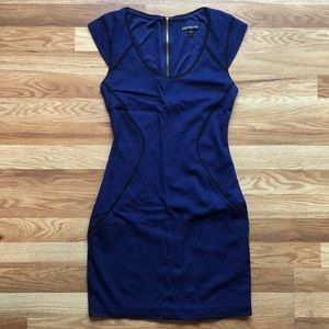 Express Fitted Mini Blue Dress